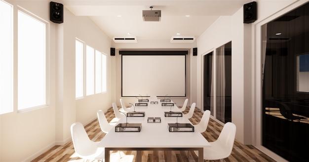 Office Business - Belle Salle De Réunion Salle De Réunion Et Table De Conférence, Style Moderne. Rendu 3d Photo Premium