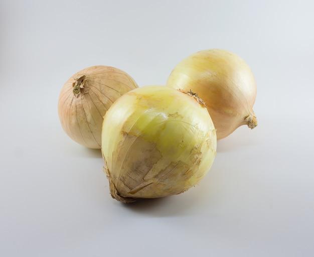 Oignons frais sur fond blanc Photo Premium
