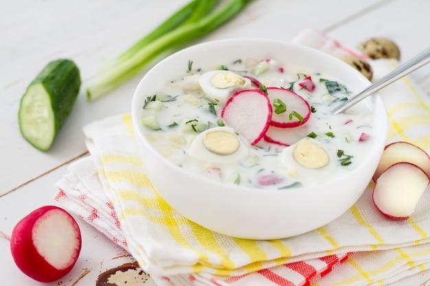 Okrochka - soupe froide estivale traditionnelle Photo Premium