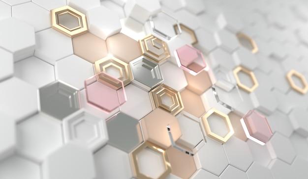 Or Brillant Hexagone Brillant Sur L'hexagone Blanc.cadre De Ligne De Luxe Doré Pour Invitation, Carte, Vente, Mode, Photo, Etc. Mariage, Produits De Beauté Rendu 3d. Photo Premium