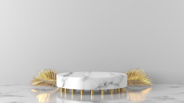 Or De Luxe Et Podium De Cylindre En Marbre Blanc Sur Fond Blanc. Photo Premium