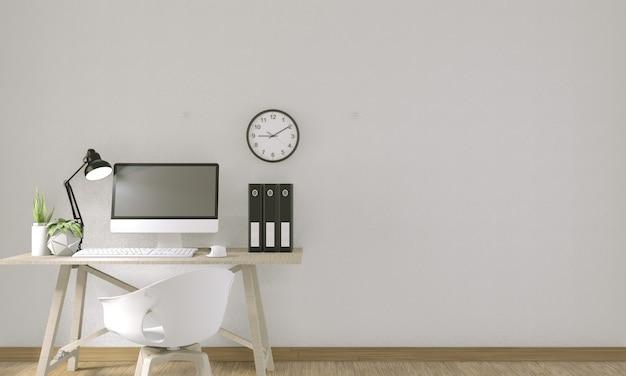 Ordinateur avec écran blanc et décoration de bureau. rendu 3d Photo Premium