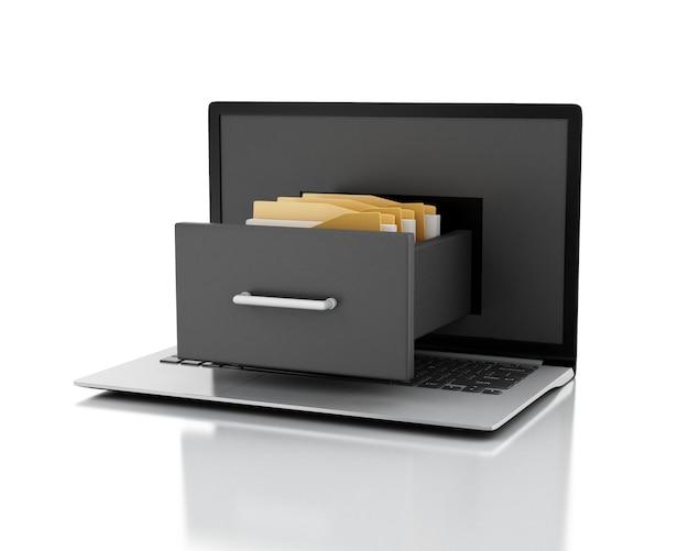 Ordinateur portable et classeur avec des dossiers. concept de stockage de données. illustration 3d Photo Premium