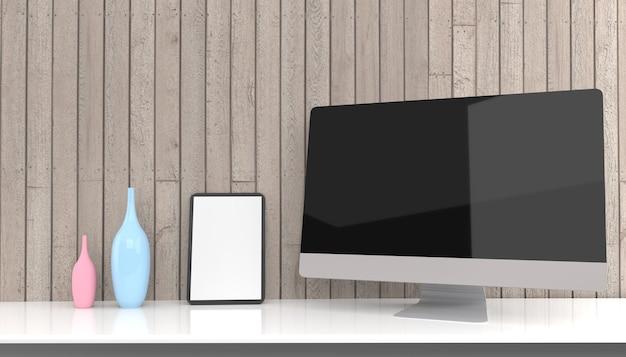 Ordinateur Portable, Ordinateur De Bureau, Mobile Et Tablette De Rendu 3d Maquette .3d Illustration Photo Premium