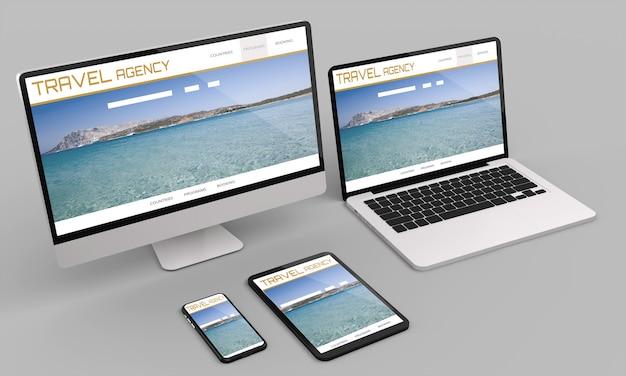 Ordinateur Portable, Ordinateur De Bureau, Mobile Et Tablette, Rendu 3d, Maquette De Site Web D'agence De Voyage .illustration 3d Photo Premium