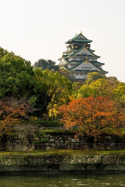 Osaka castle landmark en automne pour les touristes au japon. Photo Premium