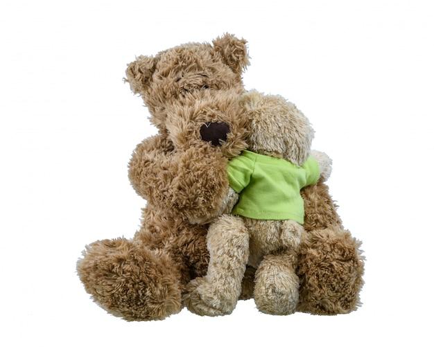 Ours Bébé Poupée Assis Sur Mère Ours Poupée Et étreignant Mutuellement Montrant L'amour Photo Premium