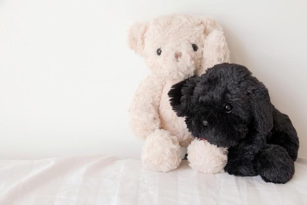 Ours En Peluche Et Un Chiot Mignon En Amour, Sweet Couple En Saint Valentin Photo Premium