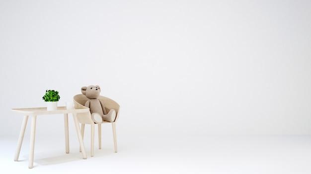 Ours en peluche dans la chambre d'enfant ou le salon sur fond blanc - 3d r Photo Premium
