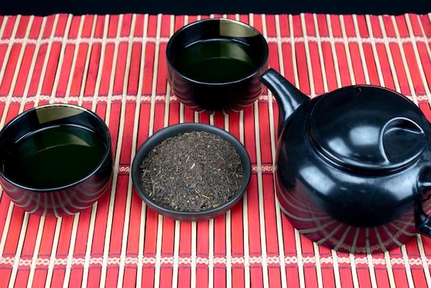 Outils de cérémonie du thé vert matcha bio Photo Premium