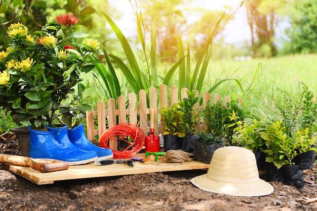 Outils de jardinage sur fond de sol prêts à planter des fleurs Photo Premium
