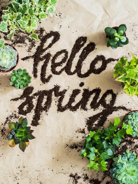 Outils de jardinier avec sol épars et plantes vertes sur fond de papier kraft froissé Photo Premium