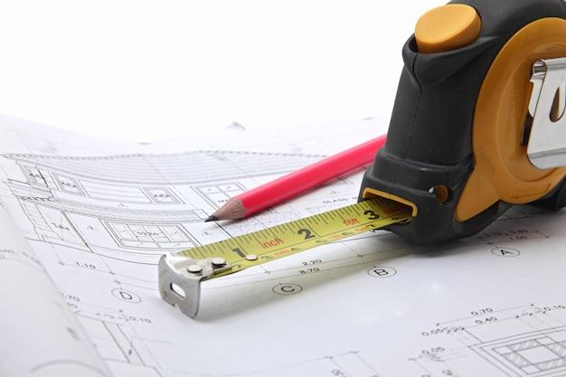 Outils avec plan de construction Photo Premium