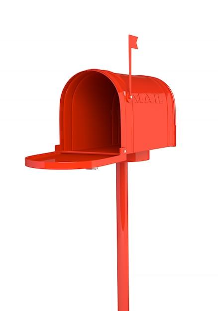 Ouvrez la boîte aux lettres rouge sur fond blanc. illustration 3d, rendre Photo Premium