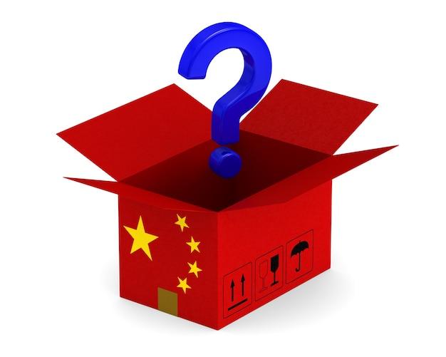 Ouvrez La Boîte De Chargement Chinoise Et Question Sur Blanc. Photo Premium
