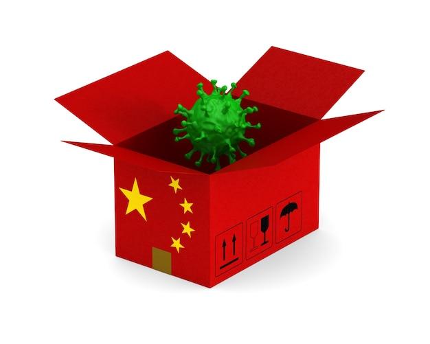 Ouvrez La Boîte De Chargement Chinoise Et Le Virus Sur Blanc. Photo Premium