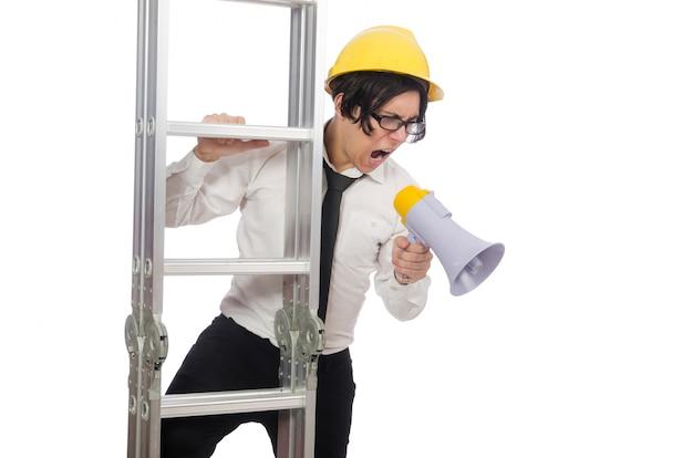 Ouvrier dans un concept drôle sur blanc Photo Premium