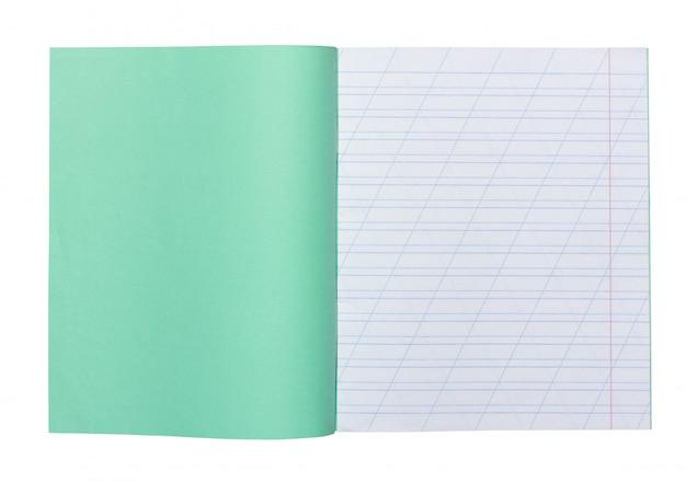 Ouvrir le cahier d'école dans une ligne étroite avec une barre oblique pour apprendre l'orthographe, se moquer avec copie espace isolé Photo Premium