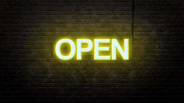 Ouvrir L'emblème De L'enseigne Au Néon Dans Un Style Néon Sur Fond De Mur De Brique Photo Premium
