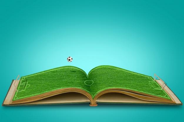 Ouvrir L'herbe Verte Livre De Stade De Football Avec Le Football Photo gratuit