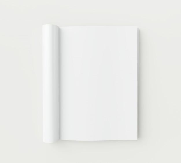 Pages de magazine vierges sur fond blanc. Photo Premium