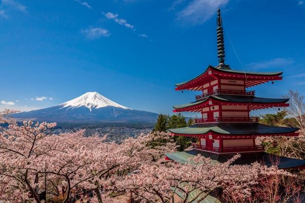 La pagode chureito et le mont. fuji au printemps avec des fleurs de cerisier à fujiyoshida, au japon. Photo Premium
