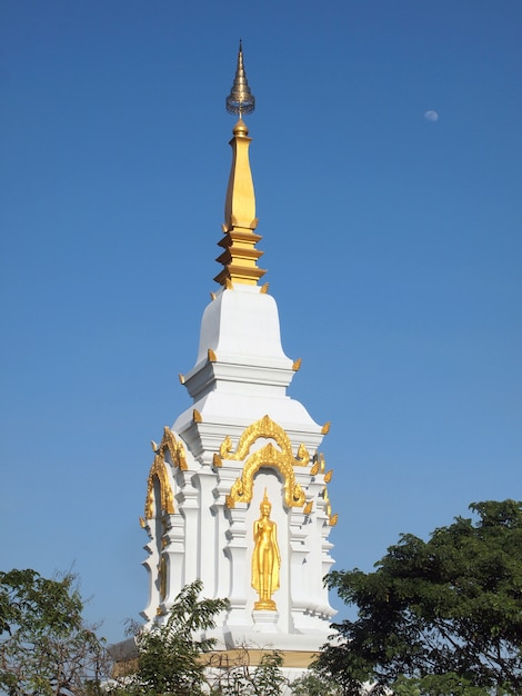 Pagode d'or dans un temple Photo Premium