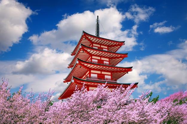 Pagode Rouge Et Fleurs De Cerisier Au Printemps, Japon. Photo gratuit