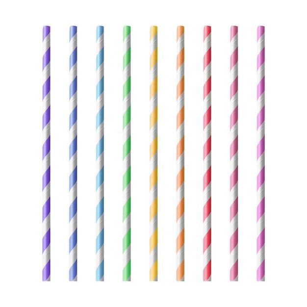 Pailles colorées isolés sur fond blanc Photo Premium