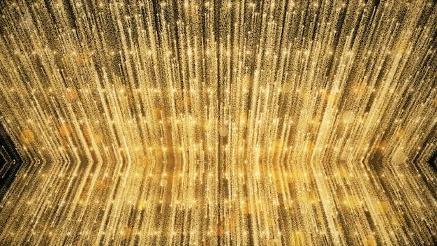 Paillettes D'or Et Lumières De Réflexion Fond Et Fond D'écran En Récompense Et Célébration. Photo Premium