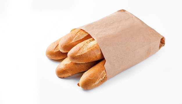 Pain Baguette Dans Un Sac En Papier Photo Premium