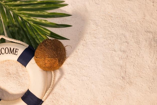Palmier feuille de noix de coco et bouée de sauvetage sur le sable Photo gratuit
