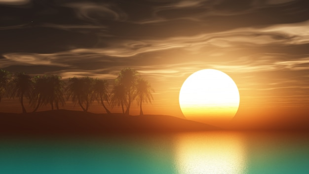 Palmiers de rendu 3d au coucher du soleil Photo gratuit