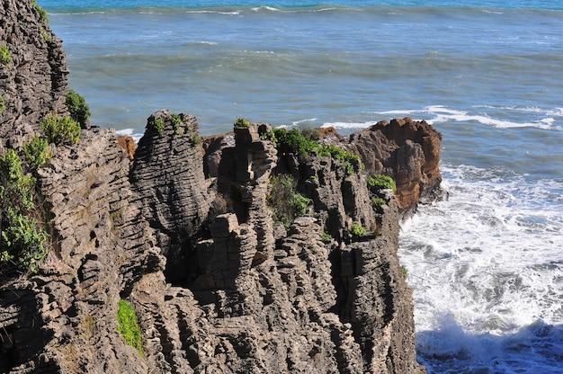 Pancake Rocks à Punakaiki Paysage, Côte Ouest, île Du Sud, Nouvelle-zélande Photo Premium