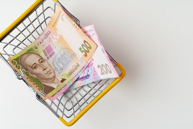 Panier D'achat De Jouets Avec De L'argent Hryvnia Ukrainien. Concept De Pouvoir D'achat Et De Salaire Vital Photo Premium