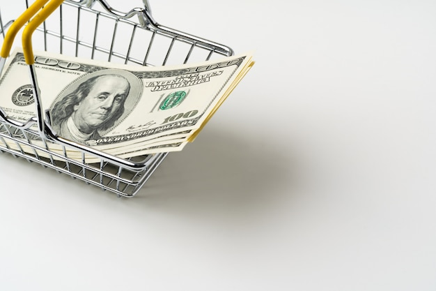 Panier D'achat De Jouets Avec Des Dollars Américains à L'intérieur. Concept De Pouvoir D'achat Et De Salaire Vital Photo Premium