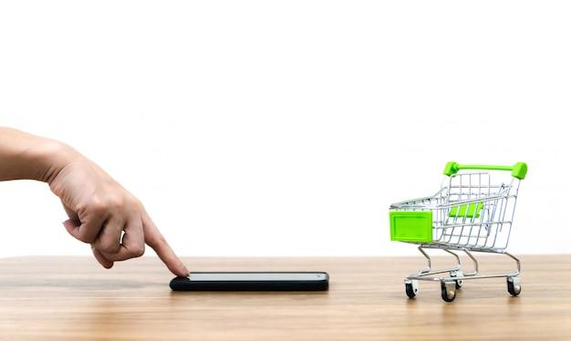 Panier d'achat en ligne vente de commodité e-commerce Photo Premium