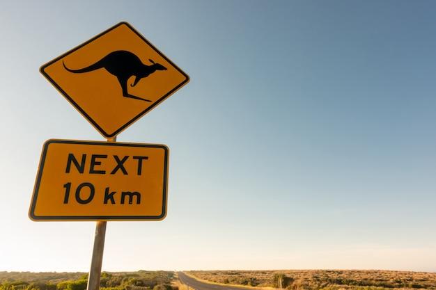 Panneau de signalisation de passage kangourou Photo Premium