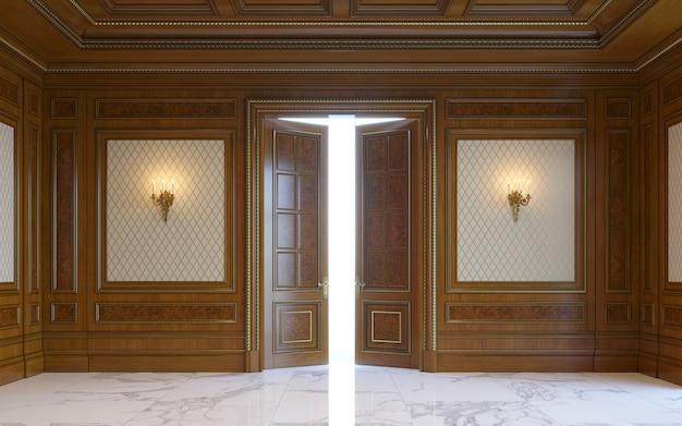 Panneaux muraux en bois de style classique avec dorure. rendu 3d Photo Premium