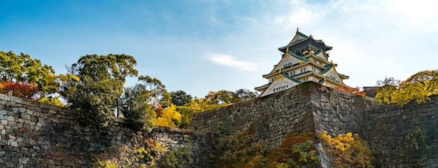 Panorama osaka château point de repère en automne pour les touristes au japon. Photo Premium