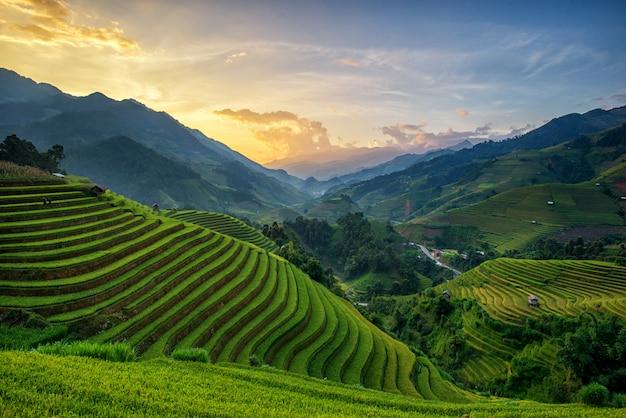 Panorama de rizières en terrasse au coucher du soleil à mu cang chai Photo Premium