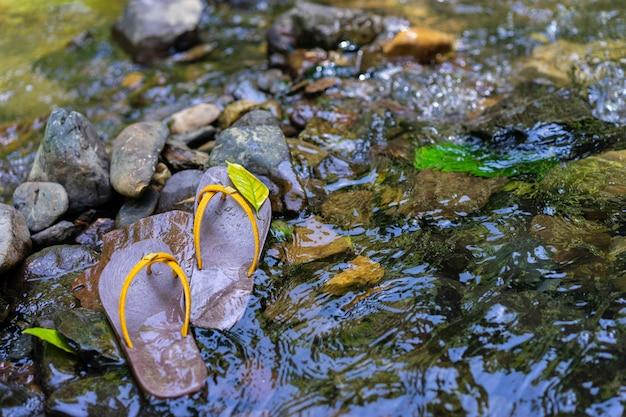 Des pantoufles ont été placées sur le rocher dans l'eau Photo Premium