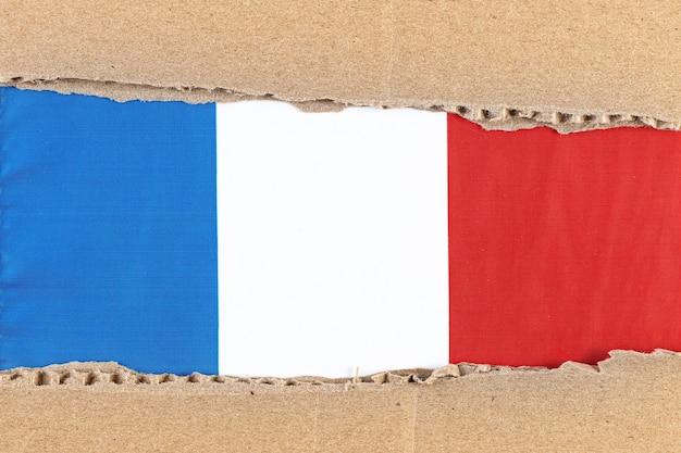 Papier Déchiré Avec Drapeau National De La France Travel Concept Avec Drapeau Français. Photo Premium