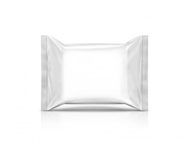 Papier d'emballage de lingettes vide poche isolé sur fond blanc Photo Premium