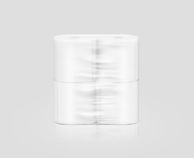 Papier d'emballage de papier de toilette blanc vierge, isolé Photo Premium