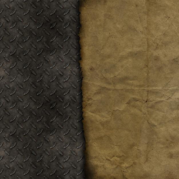 Papier Grunge Sur Un Fond De Texture Métallique Photo gratuit