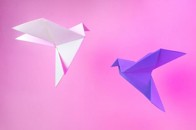 Papier Origami Deux Colombes Sur Un Rose Pastel Photo Premium