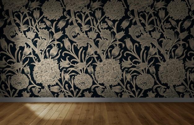 Papier peint floral dans une pièce vide avec plancher en bois Photo Premium