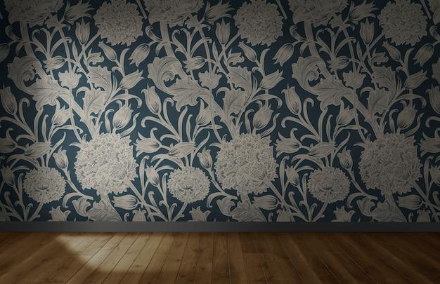 Papier peint floral dans une pièce vide avec plancher en bois Photo gratuit