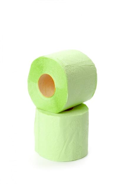Papier de toilette isolé sur blanc Photo Premium